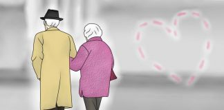 Пара пожилых людей. Рисунок Насти Гавриленко