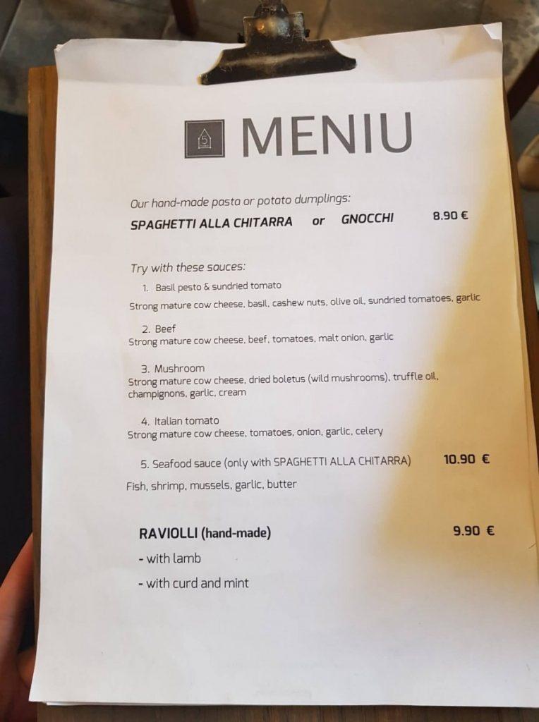 """Меню ресторана """"5 точек"""" в Аникщяе"""