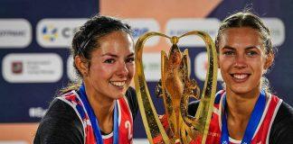 Чемпионки Европы по пляжному волейболу Анастасия Кравчёнок и Тина Граудиня