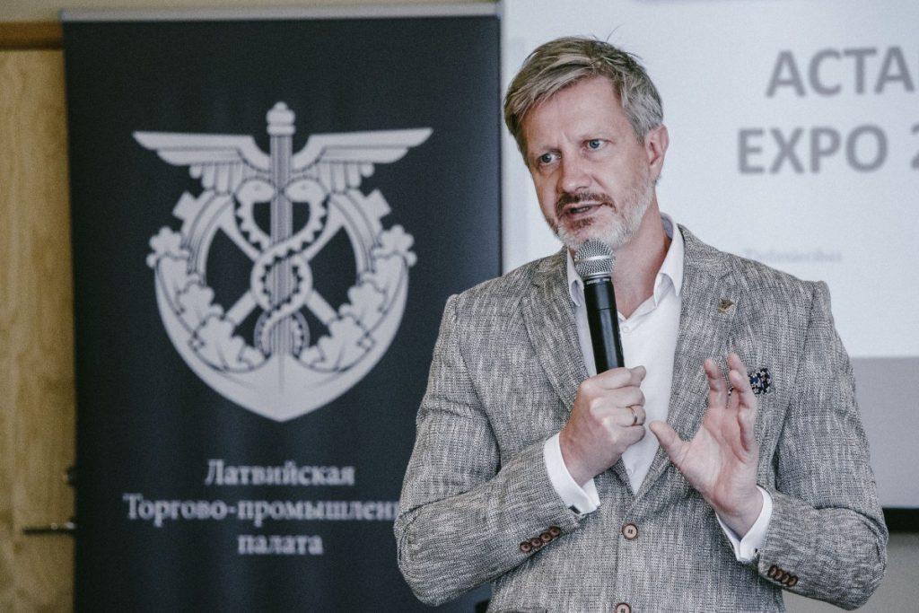 Председатель правления ЛТПП Янис Эндзиньш на встрече бизнесменов в Даугавпилсе. 12 сентября 2019 года. Фото: Евгений Ратков