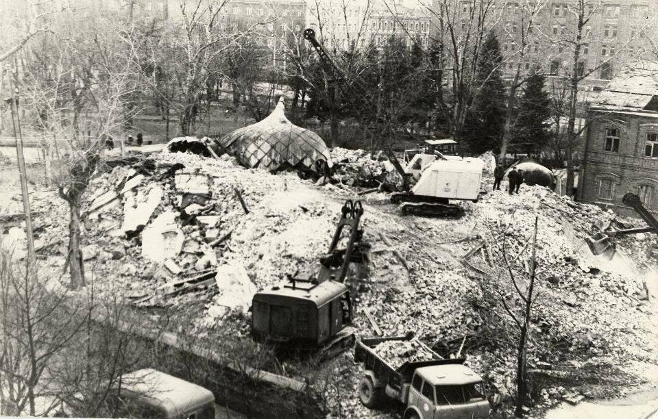 Демонтаж собора Александра Невского в Даугавпилсе. Ноябрь 1969 года. Фото: Ретро Даугавпилс - Латвия