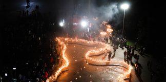Факельное шествие в Даугавпилсе. 11 ноября 2019 года. Фото: Настя Гавриленко