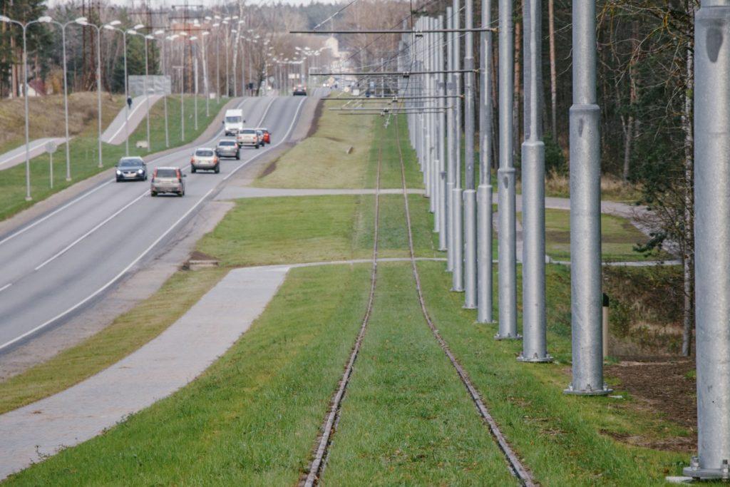 Новая трамвайная линия в Даугавпилсе. 1 ноября 2019 года. Фото: Евгений Ратков