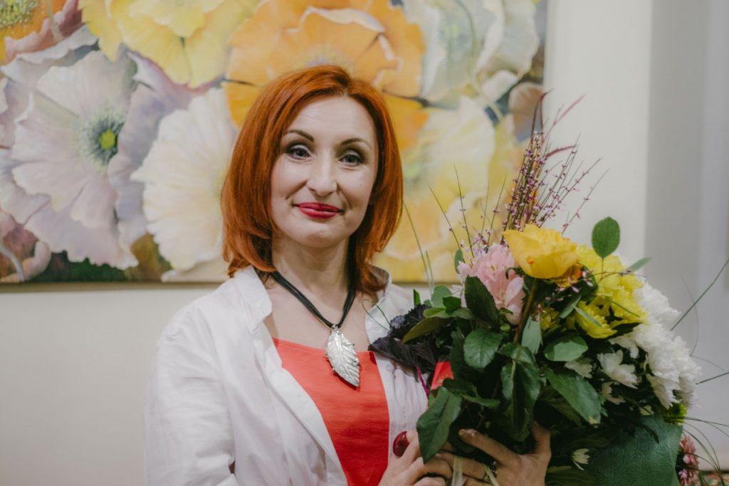 Художница Лелде Кундзиня на открытии своей выставки. 9 января 2020 года, Даугавпилс. Фото: Евгений Ратков