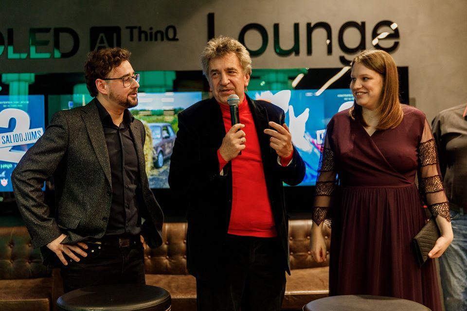 Андрейс Экис (в центре) на показе фильма Klases salidojums. Фото со страницы фильма на фейсбуке