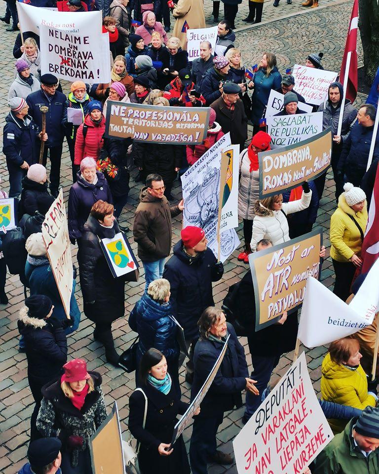 Акция протеста против административно-территориальной реформы. Рига, 5 марта 2020 года. Фото с личной страницы на фейсбуке Вячеслава Домбровского
