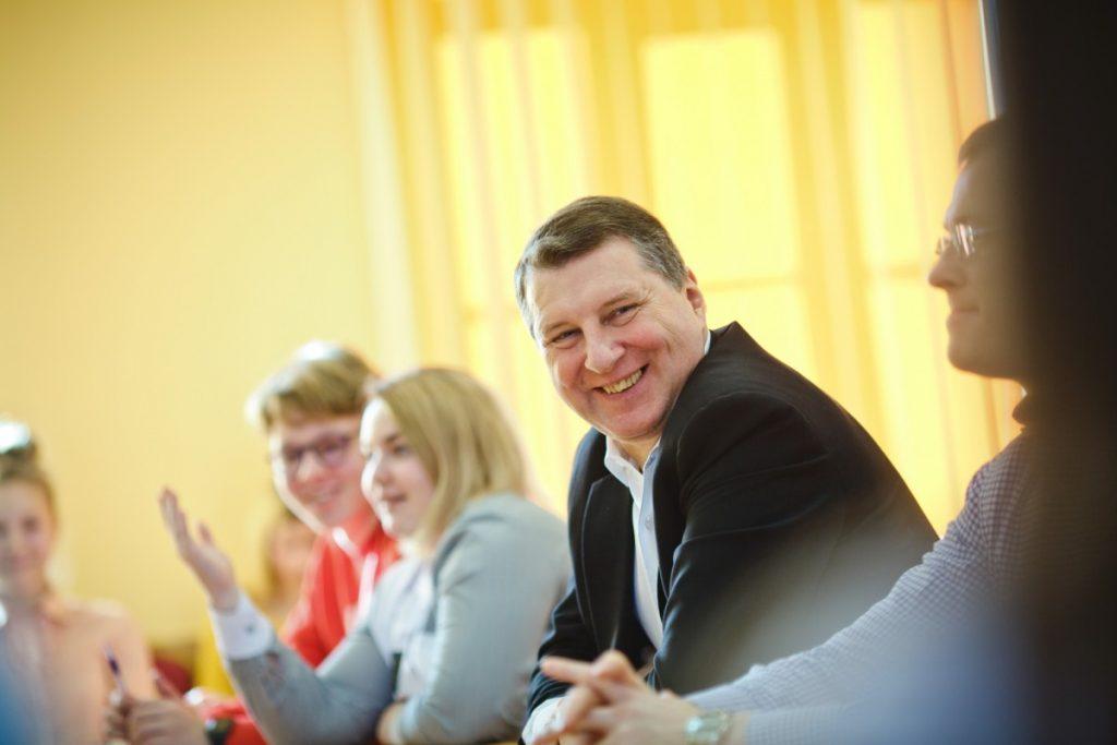 Раймонд Вейонис на встрече с даугавпилсскими школьниками. 24 февраля 2020 года. фото: Сергей Соколов