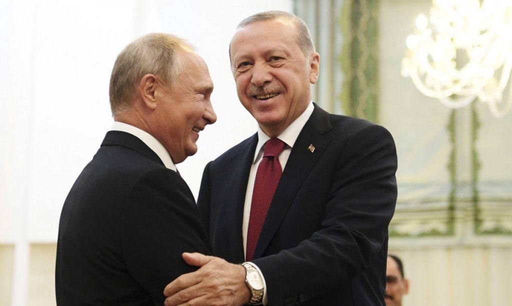 Президенты Турции и России Реджеп Эрдоган и Владимир Путин договорились о перемирии в Сирии Фото: tvnet.lv