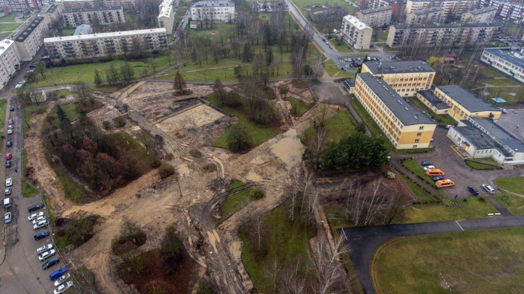 Резекне, вид на городской парк. Апрель, 2020 года. Фото: rezekne.lv