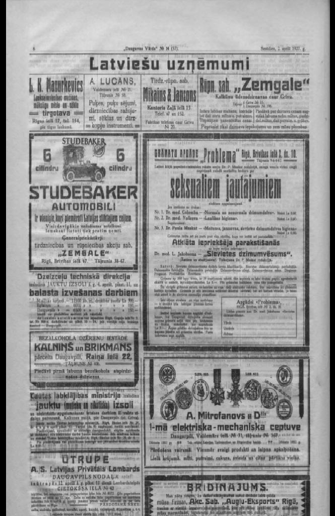 Реклама в газете Daugavas Vards от 2 апреля 1927 года