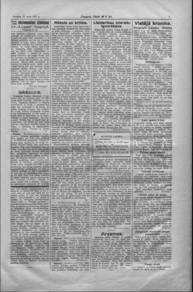 Газета Daugavas Vards, 23 апреля 1927 года
