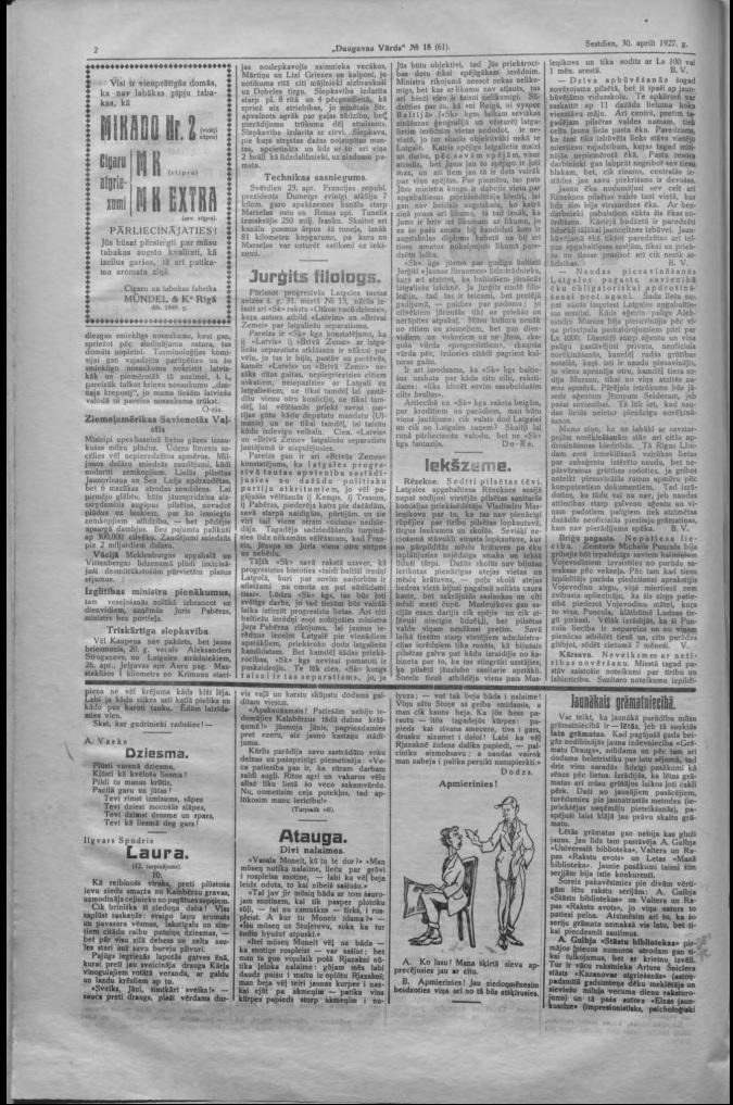 Газета Daugavas Vards, 30 апреля 1927 года