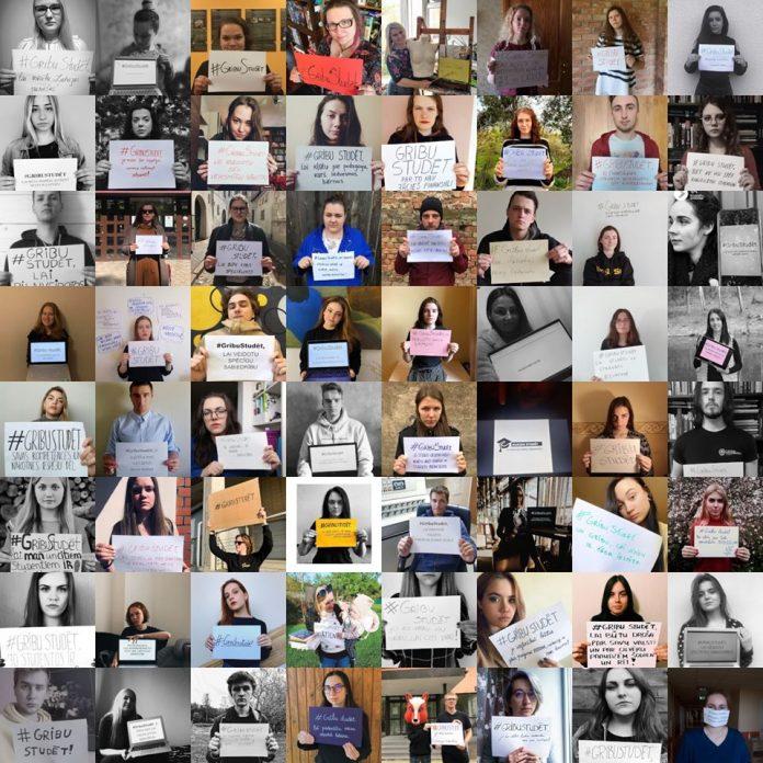 Флешмоб #GribuStudēt. Фото со страницы Latvijas Studentu apvienība на фейсбуке