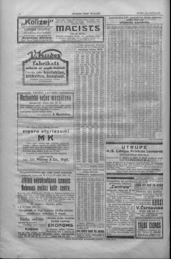 "Газета ""Daugavas Vārds"", 21 мая 1927 года. Реклама"