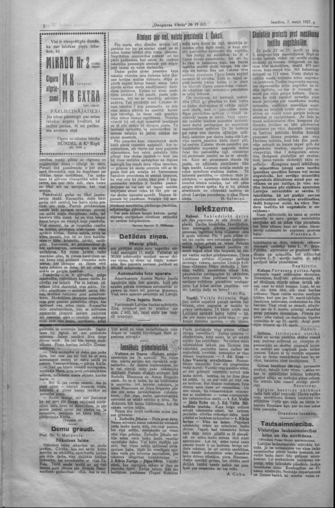 "Газета ""Daugavas Vārds"", 7 мая 1927 года"