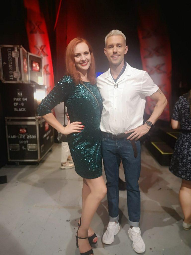 Оьга Лакса с Маркусом Ривой на проекте X-Factor в Риге (2019 год)