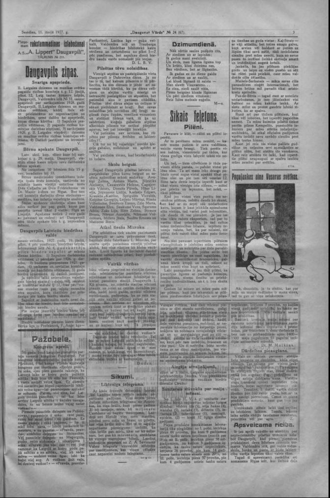 Газета Daugavas Vārds, 11 июня 1927 года