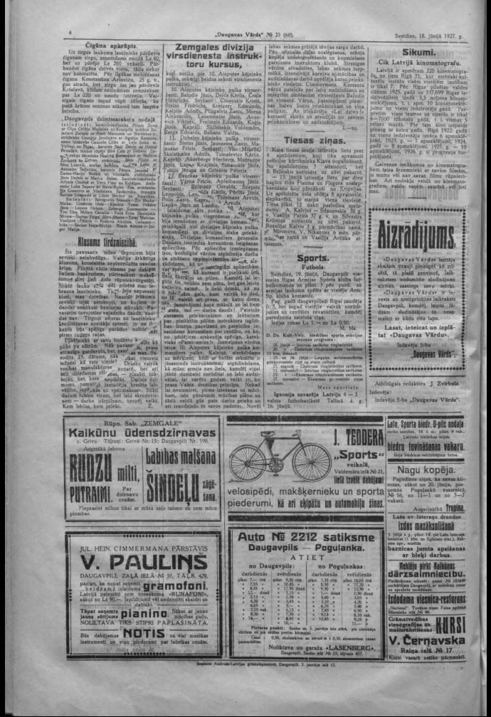 Газета Daugavas Vārds, 18 июня 1927 года