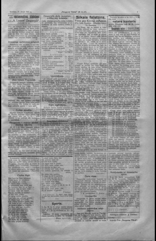 Газета Daugavas Vārds, 25 июня 1927 года