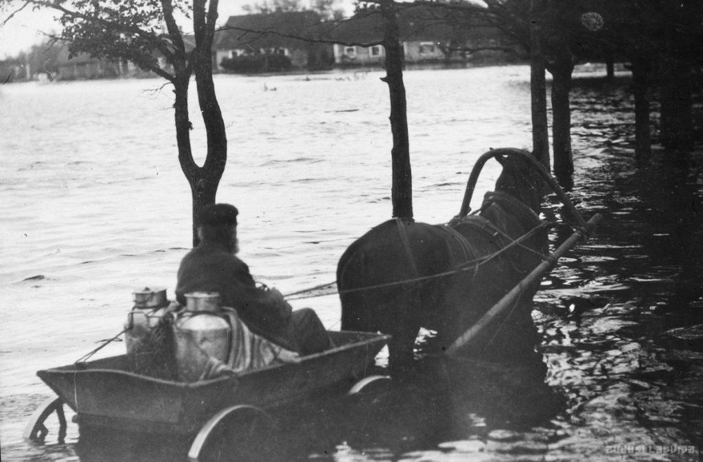 Наводнение в Лубане, 1928 год. Фото: www.zudusilatvija.lv