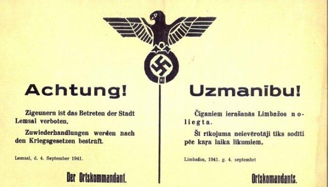 Объявление от 4 сентября 1941 года о запрете ромам появляться в Лимбажи. Фото: Latvijas Nacionālā bibliotēka