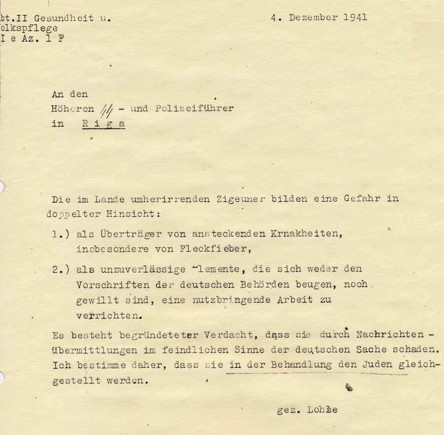 Декрет рейхскомиссара Остланда Генриха Лозе (4 декабря 1941 г.).Фото: Latvijas Valsts vēstures arhīva