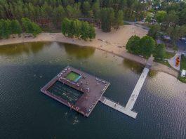 Пляж на озере Большие Стропы в Даугавпилсе. 28 июня 2020 года. Фото: Евгений Ратков