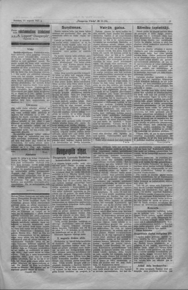 """Газета """"Daugavas Vārds"""", 13 августа 1927 года"""