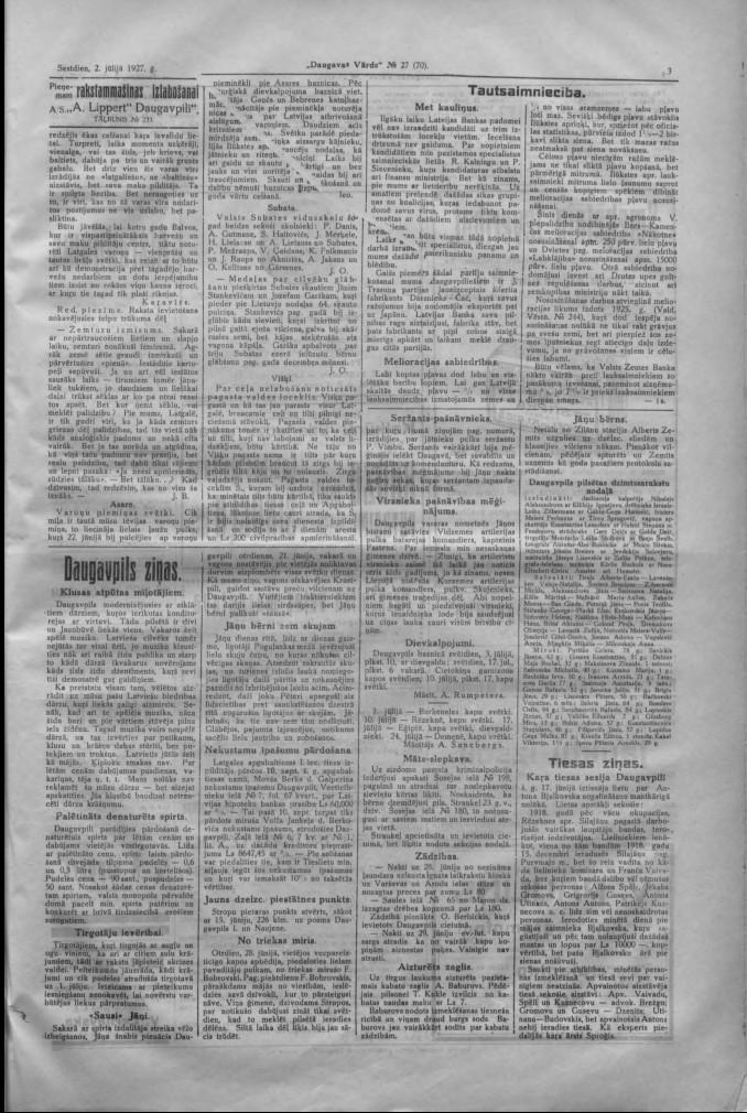 """Газета """"Daugavas Vārds"""", 2 июля 1927 года"""