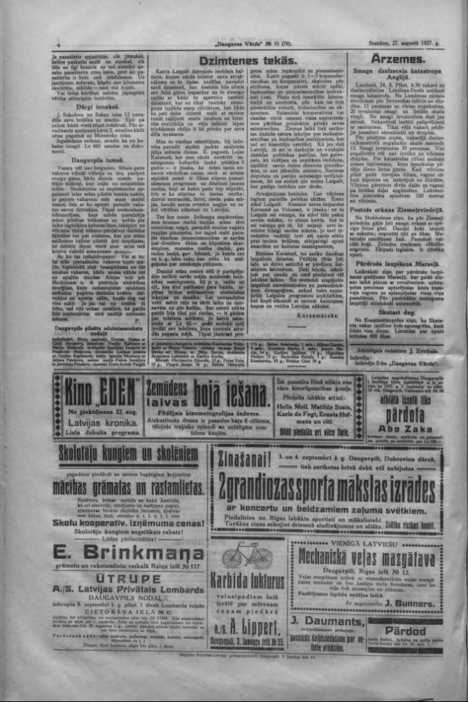 """Газета """"Daugavas Vārds"""", 27 августа 1927 года"""