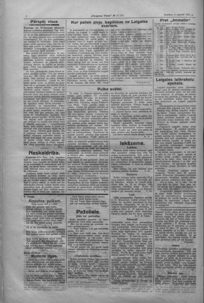 """Газета """"Daugavas Vārds"""", 6 августа 1927 года"""
