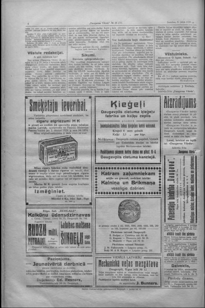 """Газета """"Daugavas Vārds"""", 9 июля 1927 года"""