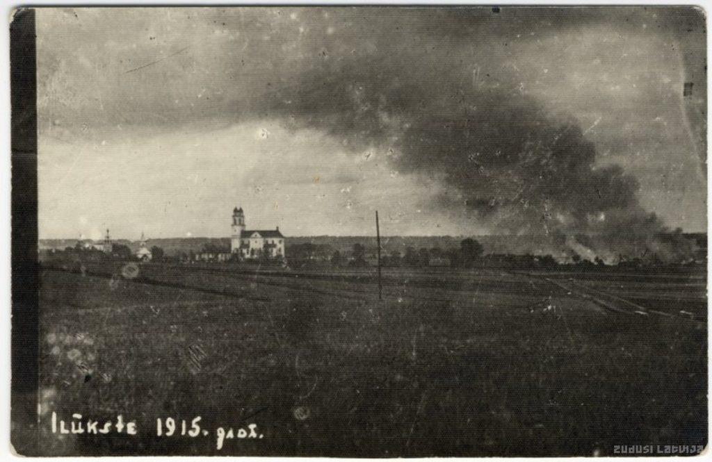 Илуксте, пожар. 1915 год. Фото: zudusilatvija.lv