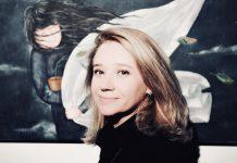 Полина Побережская на открытии выставки. Фото: Марис Морканс