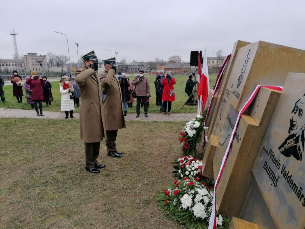 Открытие памятника к столетию освобождения Даугавпилса от большевиков в 1920 году. 15 ноября 2020 года. Фото со страницы Ромуальда Гибовского на фейсбуке