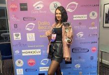 Даугавпилчанка Ольга Сычёва заняла первое место в соревновании по ламинированию ресниц в категории «Мастер». Фото из личного архива Ольги