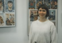 Полина Тимофеева на своей первой персональной выставке. Даугавпилс, 12 ноября 2020 года. Фото: Евгений Ратков