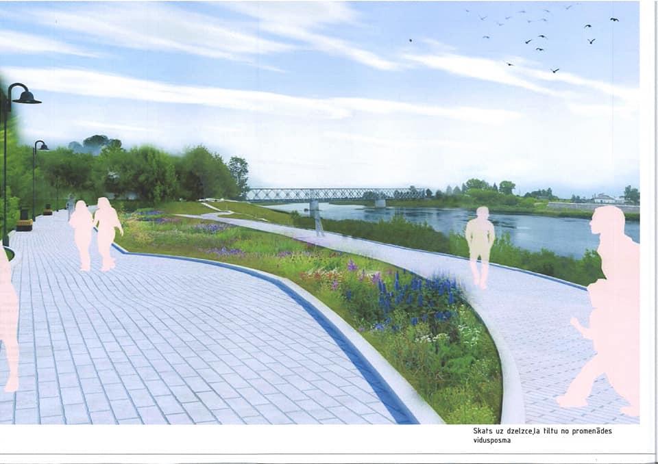 Визуализация променада вдоль Даугавы напротив Даугавпилсской крепости