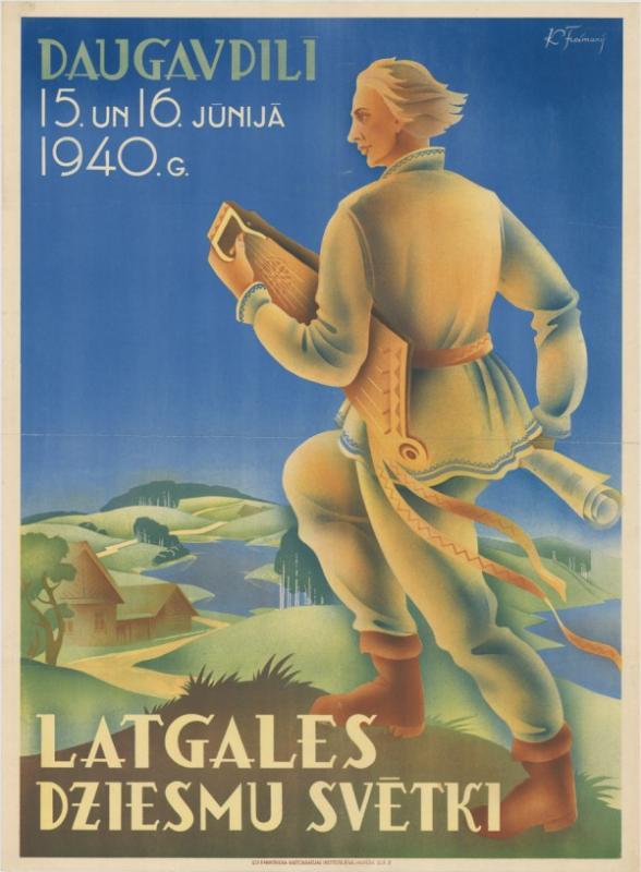Афиша Латгальского праздника песни на Стропской эстраде, 1940 год