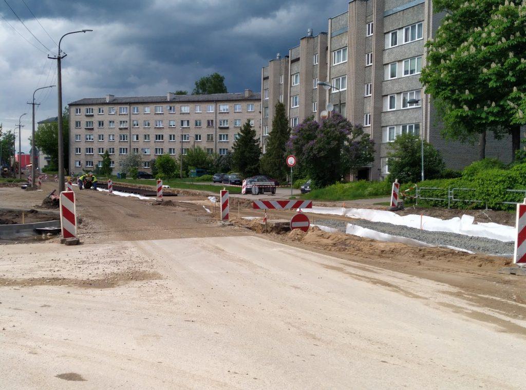 Реконструкция трамвайных путей в Даугавпилсе. Фото: Елена Иванцова