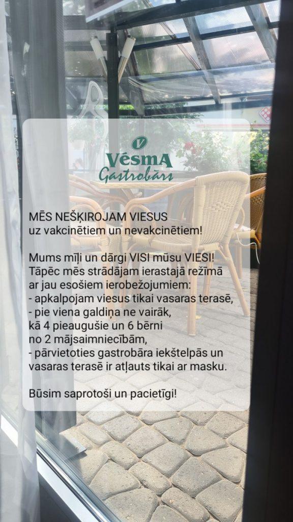 Фото со страницы гастробара Vēsma на фейсбуке