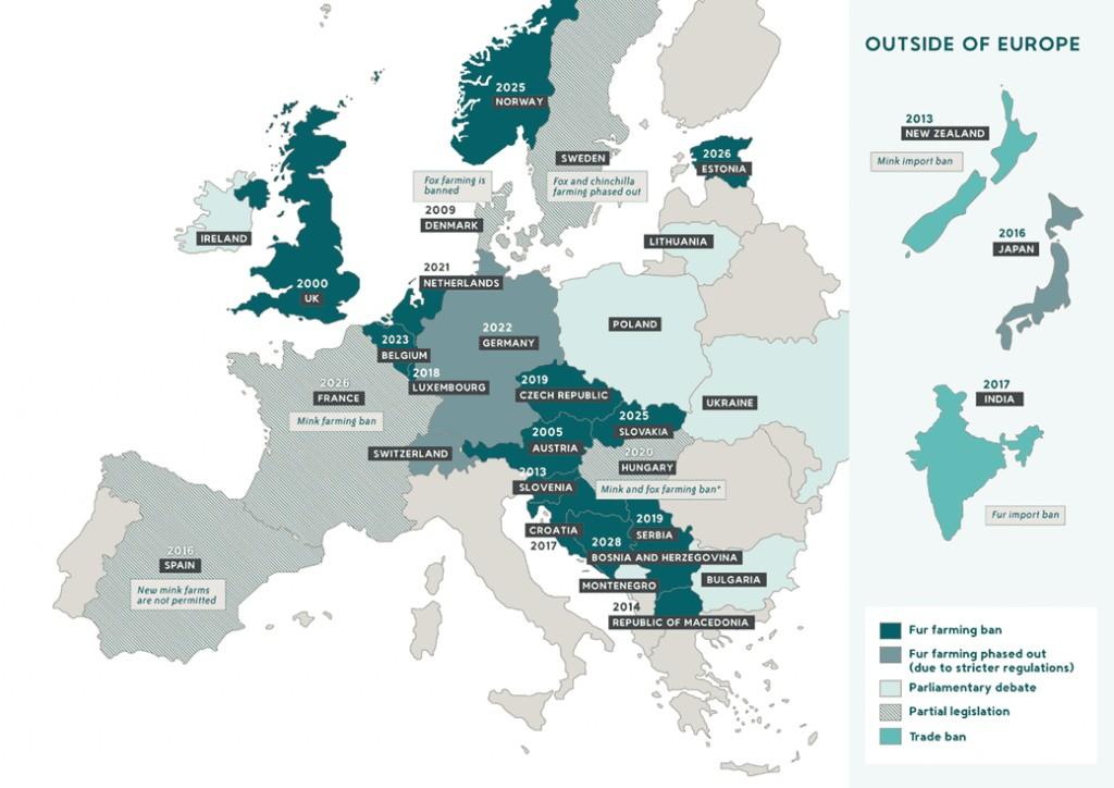 Карта стран, запретивших пушное звероводство. Изображение: Furfreealiance.com