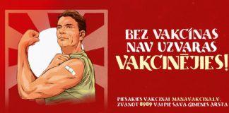 """Новая кампания """"Без вакцины нет победы"""". За основу взяли американский плакат """"We Can Do It"""" времён Второй мировой. Изображение: Slimību profilakses un kontroles centrs"""