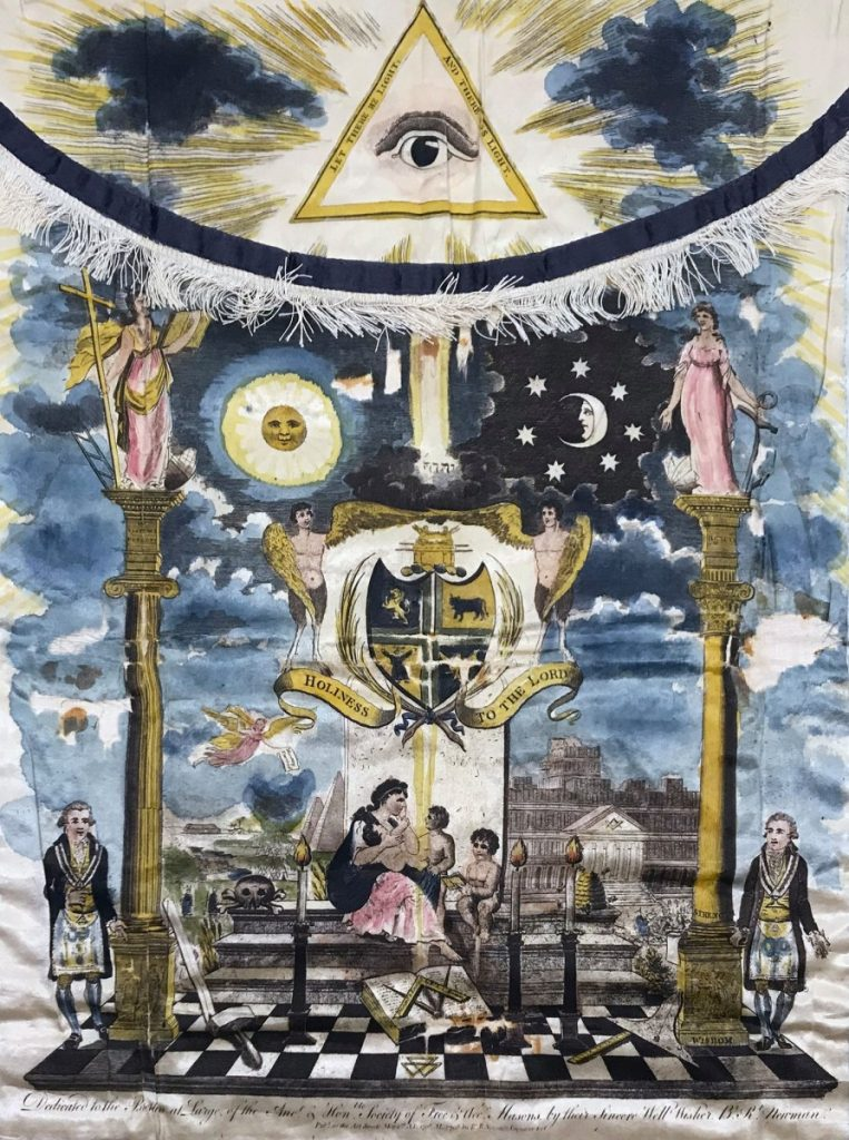 Из коллекции Masonic Museum Latvia. MASONIC APRON Robert Newman, England, 1798 Hand-colored engraving on silk
